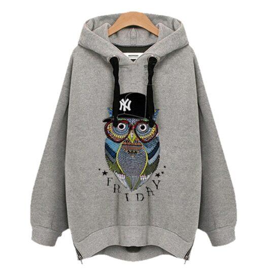 Owl Oversized Grey Hoodie