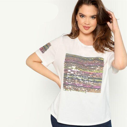 sequin short sleeve t-shirt