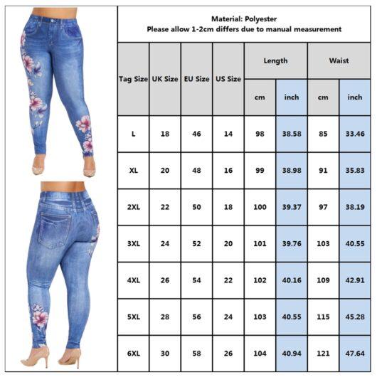Floral-Print Imitation Denim Pants