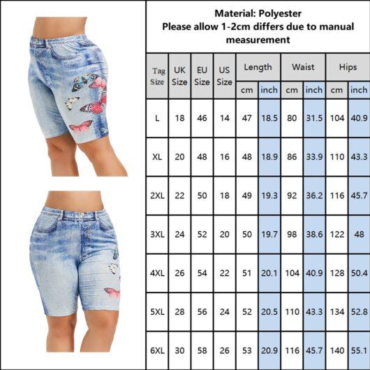 Butterfly Print Imitation Denim Shorts