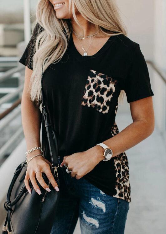 Short sleeve leopard print blouse