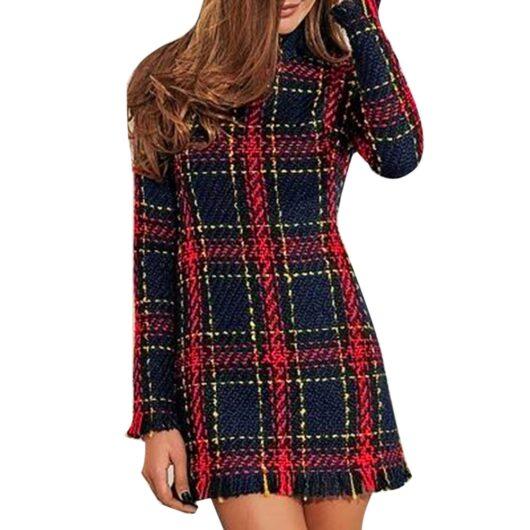 Plaid Bodycon Sweater Dress for Women