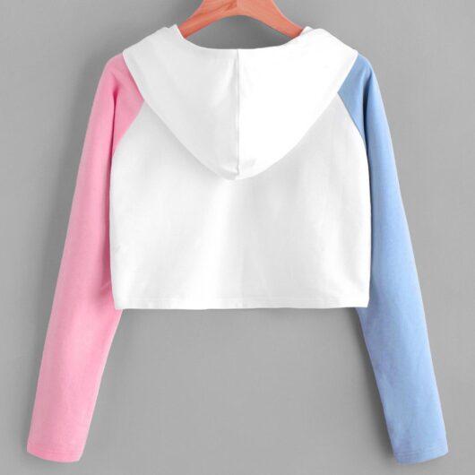 Multicolor Long Sleeve Crop Hoodie