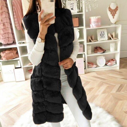 Faux Fur Sleeveless Coat
