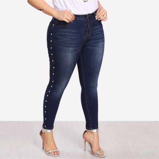 Blue Pearls Vintage Pocket Skinny Jeans