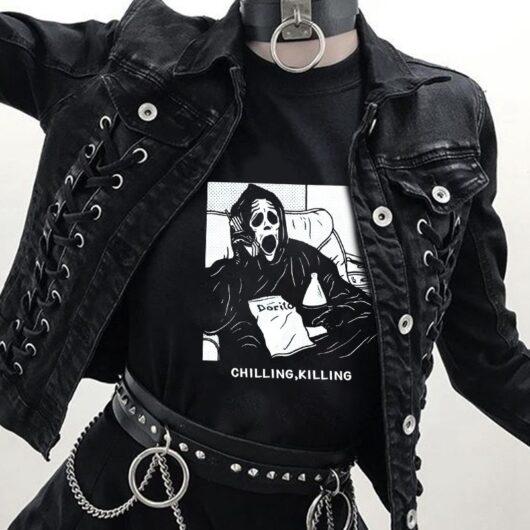 Ghost Chilling Skull Punk Tee Shirt