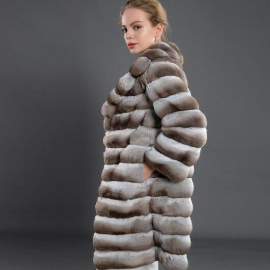 100% Real Rex rabbit Chinchilla fur coat