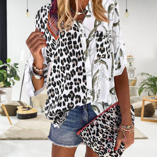 plus size leopard print top
