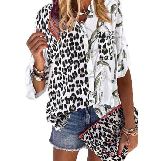 Button- Up Plus Size Leopard Print Top