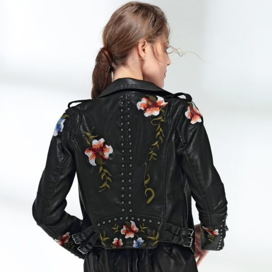 Leather Jacket with Floral Embroidery