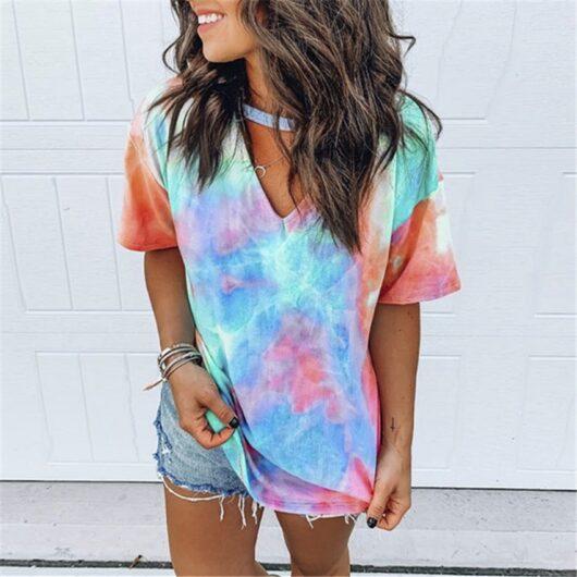 Summer Hollow-out Tie Dye Shirt