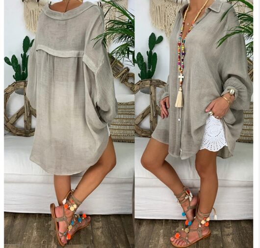 Cotton and Linen Loose Fit Top