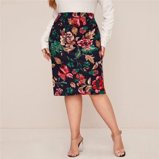 Women's Plus Size Multicolor Floral Printed Pencil Skirt