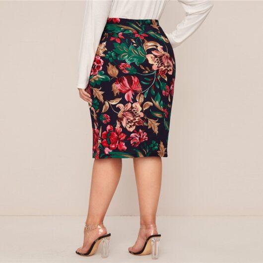 Plus Size Multicolor Floral Printed Pencil Skirt