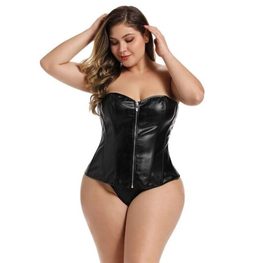 Leather Women's Corset in Plus Size