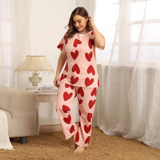 Plus Size Pink Pajamas Set w/Hearts