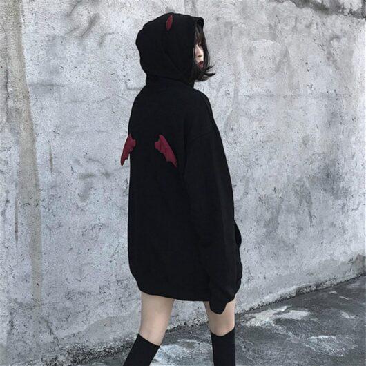 Black Punk Gothic Plus Size Demon Wings Hoodies