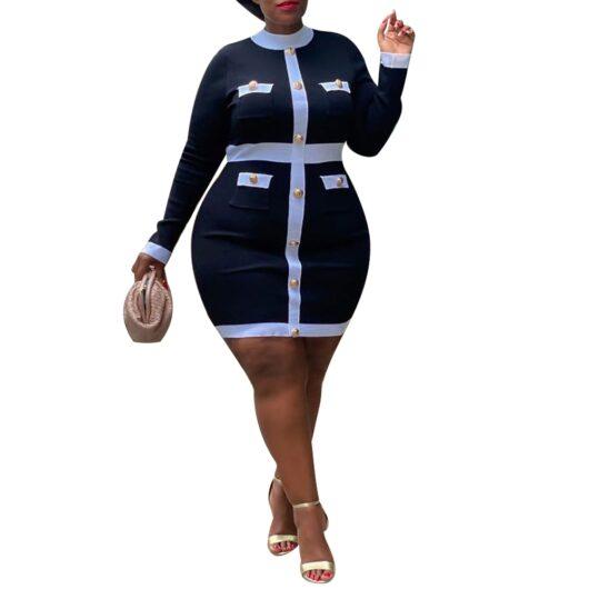 Black Turtleneck Dress Plus Size w/Sleeves