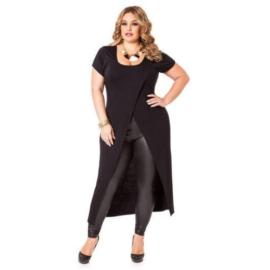 Black Plus Size High Low Tunic