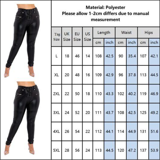 Lace Up Plus Size Faux Leather Pants