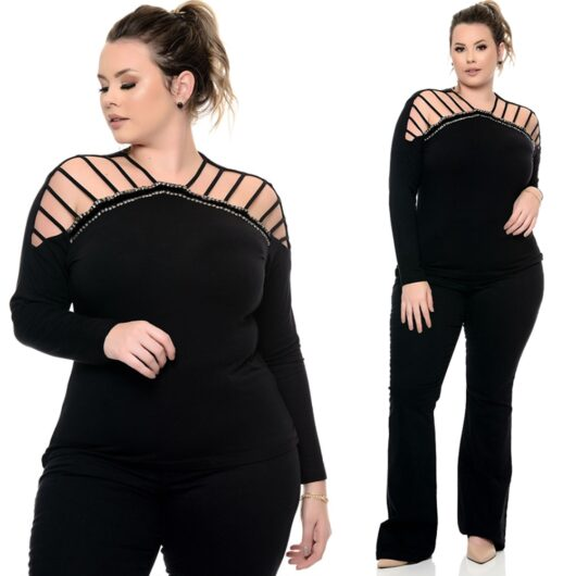 Plus Size V Neck Top w/Ripped Sleeve