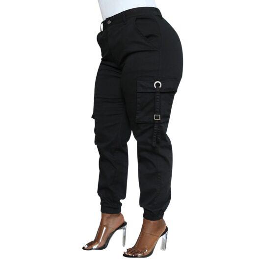 Black Plus Size Jogger Cargo Pants